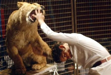 马戏团老虎发威撕咬驯兽师