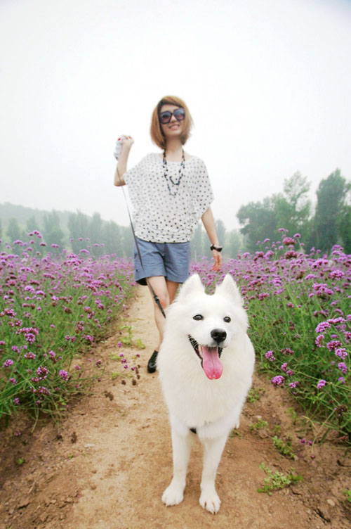 尚雯婕携爱犬为新碟拍照 百变白领扮摩登秀清新