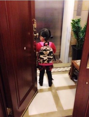 王诗龄扎小辫背书包上学 背影可爱